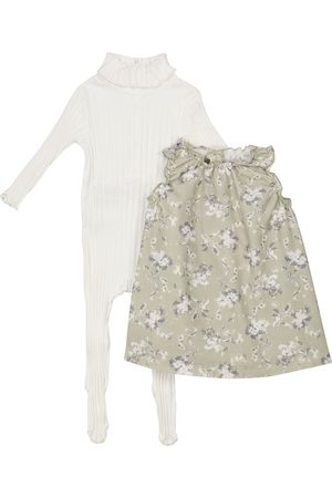 Il gufo Baby cotton onesie and dress set