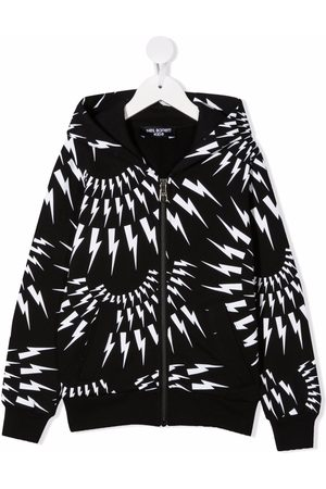 Neil Barrett Drenge Hoodies - Thunderbolt zip-up hoodie