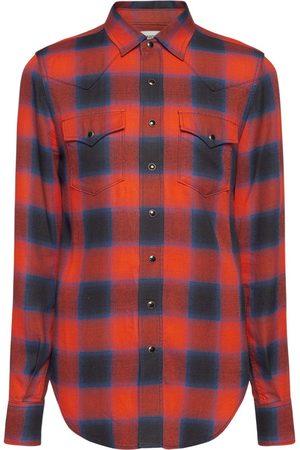Saint Laurent Mænd Langærmede skjorter - Check Slim Western Shirt