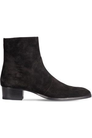Saint Laurent Wyatt 40 Zipped Suede Western Boots