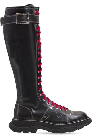 Alexander McQueen 40mm Treaded Tall Brushed Leather Boots