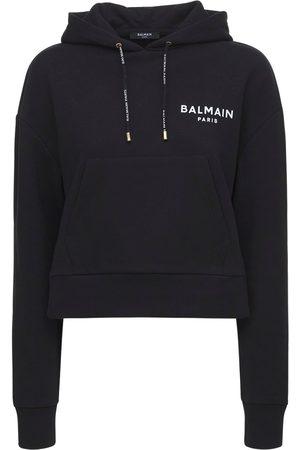 Balmain Cropped Cotton Hoodie W/ Flocked Logo