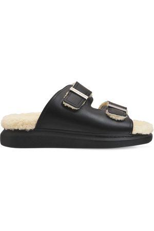 Alexander McQueen 50mm Leather & Shearling Slide Sandals