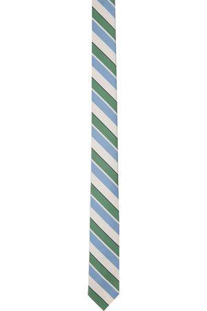 Thom Browne Off-White & Blue Bold Rep Stripe Classic Tie
