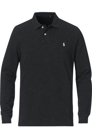 Polo Ralph Lauren Mænd Poloer - Custom Slim Fit Long Sleeve Polo Black Marl Heather
