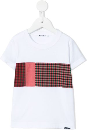 Familiar Drenge Kortærmede - Patchwork check-print cotton T-shirt