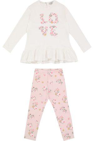 MONNALISA Floral cotton top and leggings set