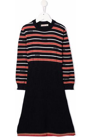 Marni Kids Stribet kjole i strik med logo