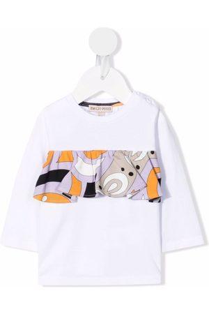 Emilio Pucci T-shirt med abstrakt tryk og flæsekant