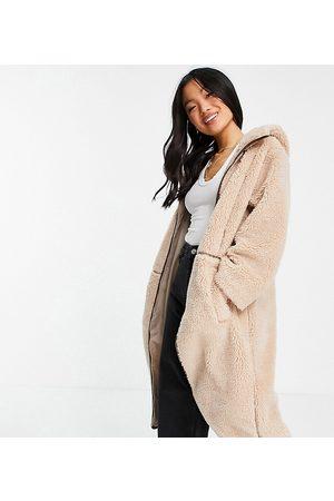 ASOS Petite Kvinder Fleecejakker - ASOS DESIGN Petite - Kamelbrun fleece-frakke med kontrastsømme-Hvid