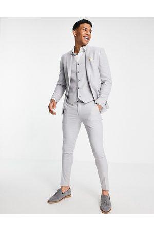 ASOS DESIGN Mænd Chinos - – Isgrå superskinny bryllupshabitbukser med mikro-tekstur