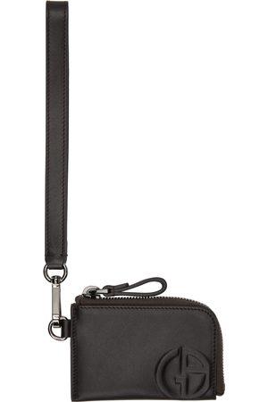 Armani Brown Zipped Wristlet-Style Card Holder