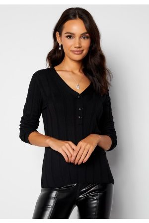 Happy Holly Anabelle Knitted collar Top Black