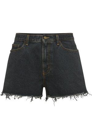 SAINT LAURENT Baggy Denim Shorts W/ Raw Cut Detail