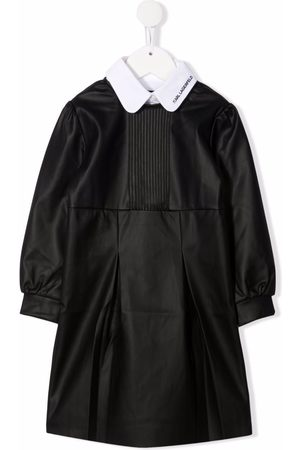 Karl Lagerfeld Faux-leather pleated shirt dress