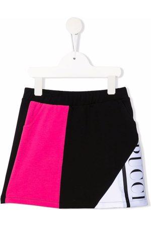 Emilio Pucci Junior Logo-trim colourblock A-line skirt