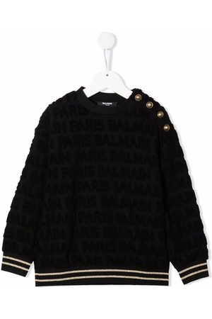 Balmain Kids Textured buttoned sweatshirt