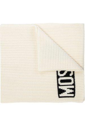 Moschino Rib-knit scarf with logo