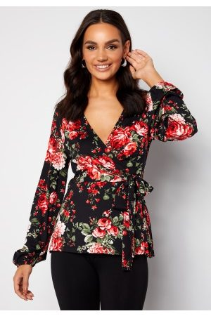Happy Holly Amanda puff sleeve wrap top Black / Patterned