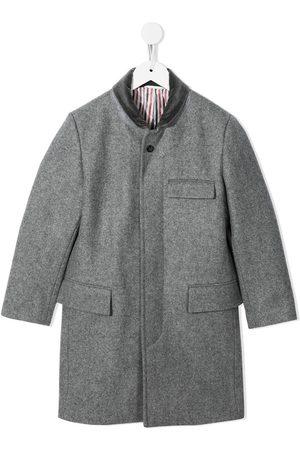 Thom Browne Mediumgrå Chesterfield Melton frakke i uld