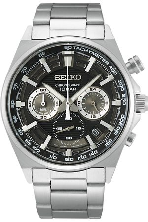 Seiko Mænd Ure - Chronograph 41mm Steel Black Dial