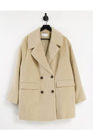 ASOS DESIGN Dobbeltradet frakke i kamelbrun