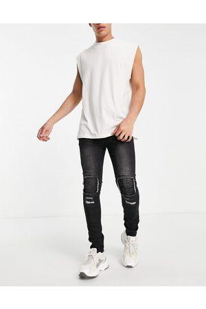 Soul Star Sorte biker-jeans i slim fit