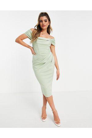 ASOS DESIGN Salviegrøn draperet pencil-midikjole i Bardot-stil med korsetdel
