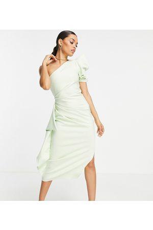 ASOS Petite Kvinder Midikjoler - ASOS DESIGN Petite - Oneshoulder midikjole med pufærme med flæse i lime-Grøn