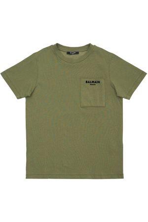 Balmain Flocked Logo Cotton Jersey T-shirt
