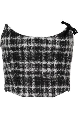 Alessandra Rich Kvinder Bustiers - Checked mohair, wool and cotton-blend tweed bustier