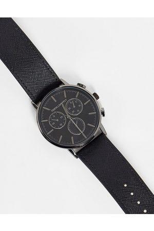 ASOS DESIGN Ur med små urskiver i metallisk grå og saffiano-læderrem fra