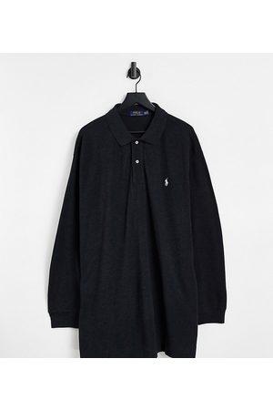 Polo Ralph Lauren Big & Tall - Sortmeleret langærmet slim fit-polo i piqué med ikonisk logo