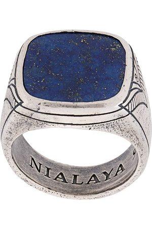 Nialaya Jewelry Mænd Ringe - Onyx ring med indgravering
