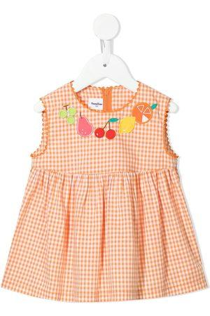 Familiar Piger Kjoler - Ternet kjole med frugtbroderi