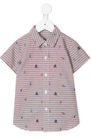 Familiar Drenge Langærmede skjorter - Stribet skjorte med broderet motiv