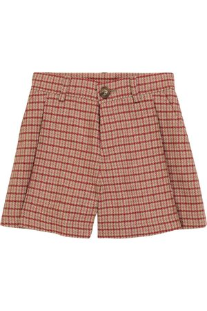 Chloé Houndstooth wool-blend shorts