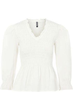 Pieces Kvinder Tunikaer - Pcerike Smock Bluse Med Smocksyning Kvinder White