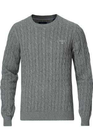 GANT Mænd Strik - Cotton Cable Crew Neck Pullover Dark Grey Melange