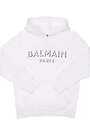 Balmain Piger Sweatshirts - Printed Logo Cotton Sweatshirt