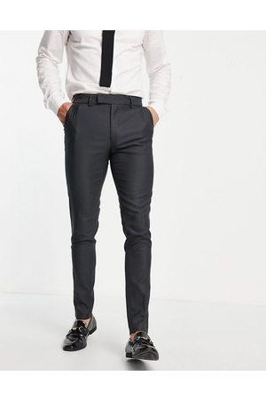 ASOS DESIGN Elegante Oxford-habitbukser i mellemgrå i skinny fit