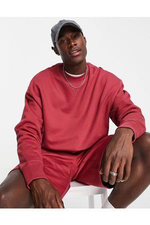ASOS Mænd Sweatshirts - Oversized sweatshirt i vasket rødt, kraftigt stof - Del af sæt
