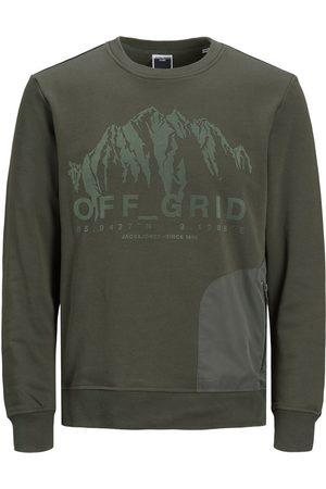 JACK & JONES Mænd Sweatshirts - Loopback Off Grid-print Sweatshirt Mænd