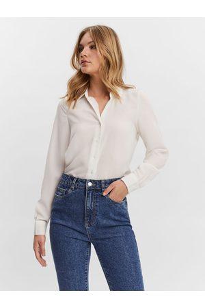 VERO MODA Long Sleeved Shirt Kvinder White