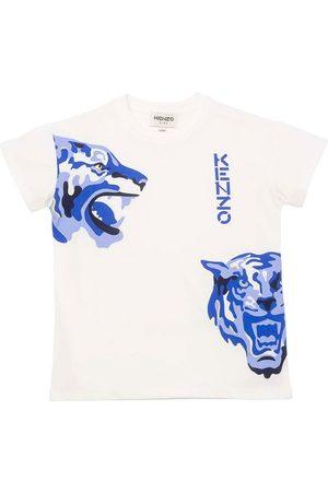 Kenzo Kortærmede - T-shirt - Off White/Blå m. Tiger