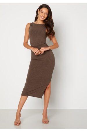 BUBBLEROOM Kvinder Midikjoler - Minea drapy sleeveless dress Brown melange