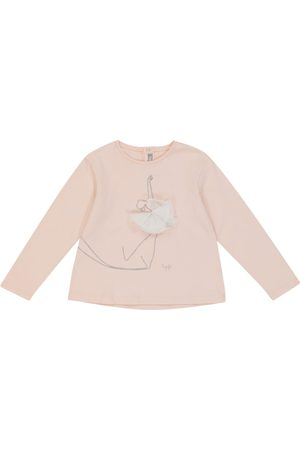 Il gufo Embroidered and tulle-trimmed cotton top