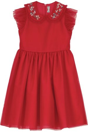 Il gufo Embroidered tulle dress