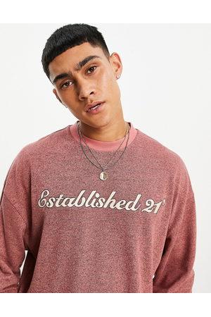 ASOS Meleret oversized langærmet T-shirt i børstet stof med tekstprint