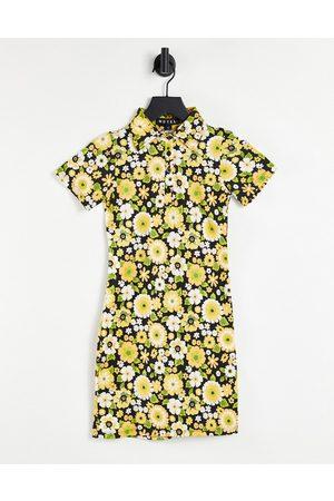 Motel Kortærmet bodycon-kjole med retro 70'er blomstermønster-Multifarvet